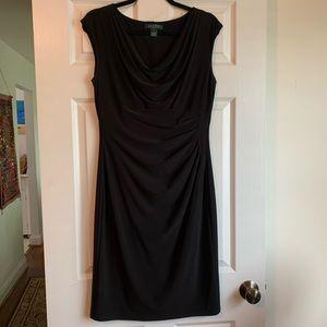 Like New Ralph Lauren Faux Wrap Black Dress, 12
